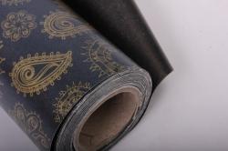 """Бумага на золотой основе """"Полянка"""" (черный) 53см*10м GOL-1104"""