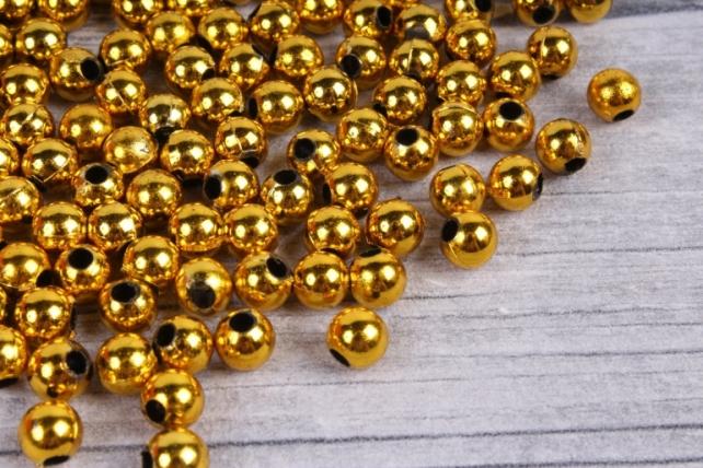 бусины  круглые металлизированные золото  (50гр) pl