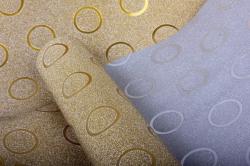 Упаковочная подарочная пленка 50cmx5m золотые круги