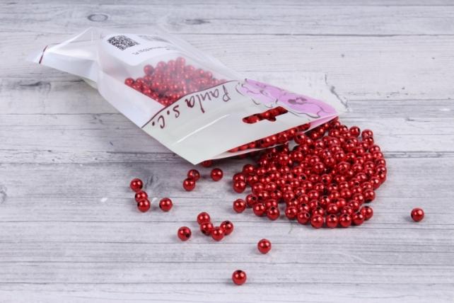 бусины  круглые металлизированные красные(50гр) pl