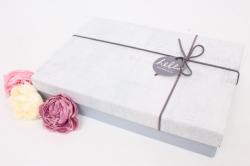 Подарочная прямоугольная коробка, 29х20х5.5 см, серый / темно-серый 7524М