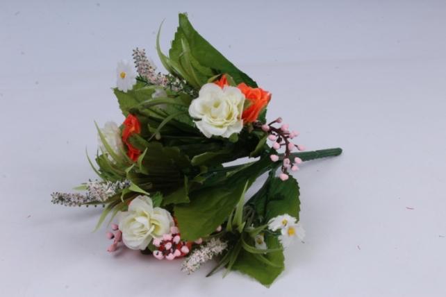 Роза евробукет с гипсофила оранжево/белая 25см