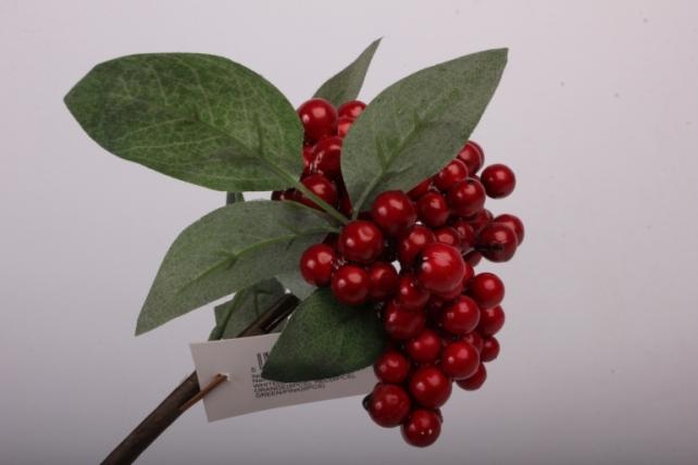 Искусственное растение - Веточка с ягодками красные  OW1008