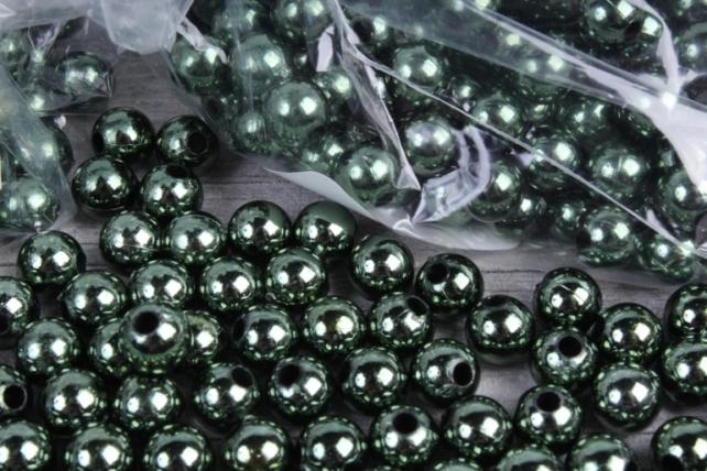 Бусины (А) металл зеленый  в пакете 100гр