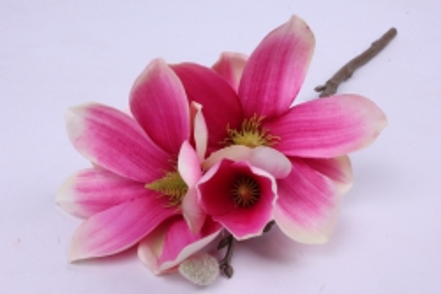Искусственное растение - Веточка Магнолии 35 см малиновая SUN488