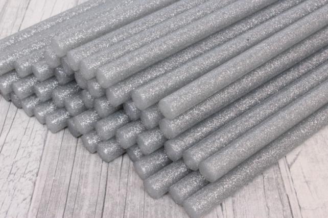 ТермоКлей цветной   (11,2*200 мм) 8115  Глиттер серебро 1000г