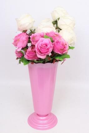 Ваза рифлёная малая Розовая H36 D17.5