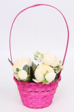 Корзина плетеная (бамбук) розовый, 3524