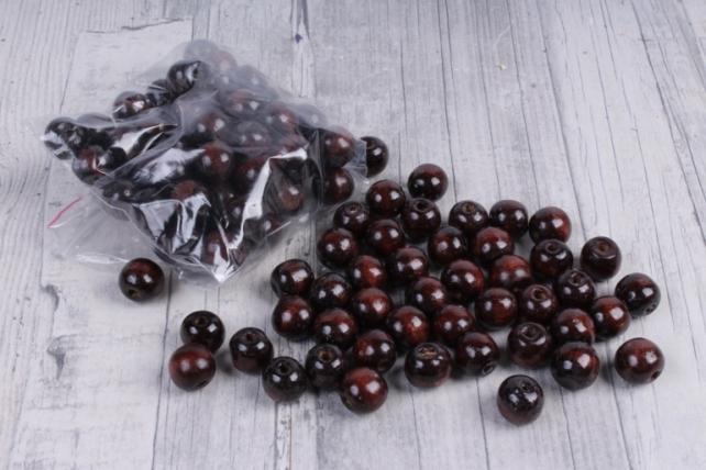 Бусины дерево  (С)  круглые  коричневый (15мм) в пакете 100гр
