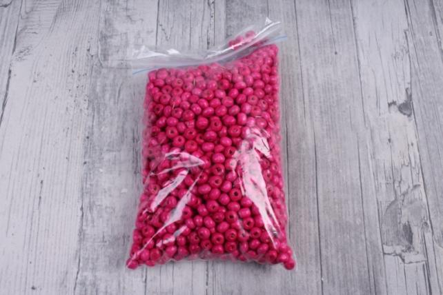 Бусины дерево  (С)  круглые  малина (6мм) в пакете 100гр