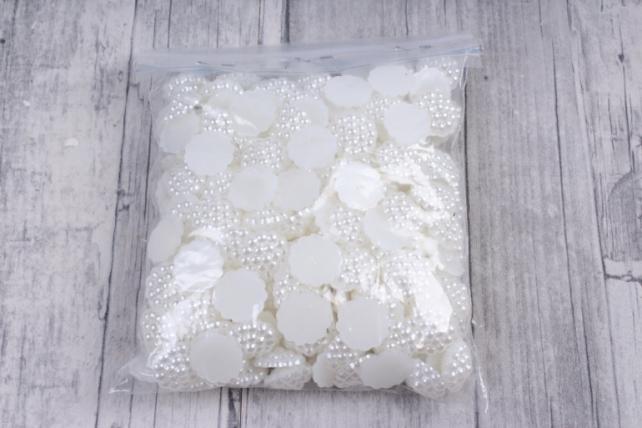 Бусины-стразы  (С) Малинки белые  (13мм) в пакете 100гр