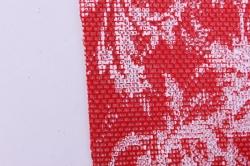 Лен с рисунком 50*5y (узор красный/белый)