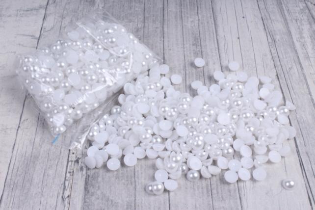 Бусины-стразы  (С) белые перламутровые круглые  (8мм) в пакете 100гр