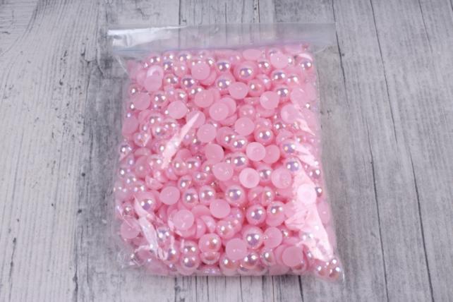Бусины-стразы  (С) розовые перламутровые круглые  (8мм) в пакете 100гр