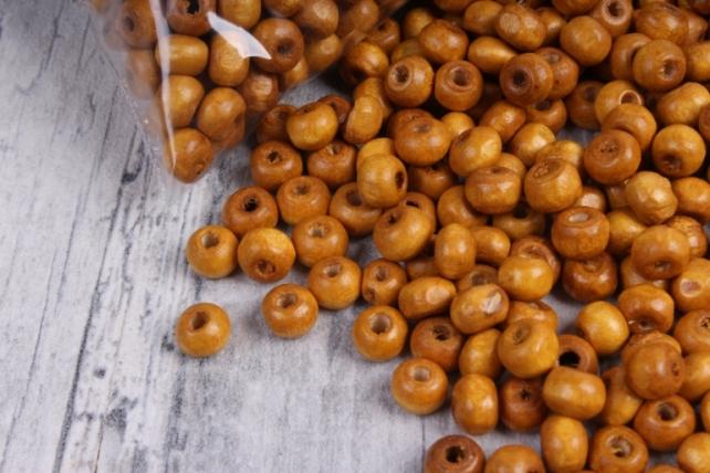 Бусины дерево  (С)  круглые  карамель (6мм) в пакете 100гр