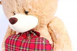Игрушка мягкая Медведь большой светло-коричневый  с сердцем  М-3363/80
