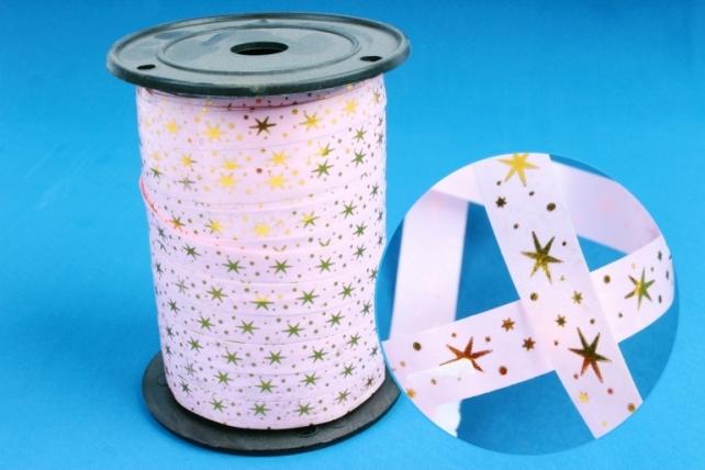 Подарочная Декоративная Лента с золотой полосой (1см на 100у) Звёздочки - Розовая A102
