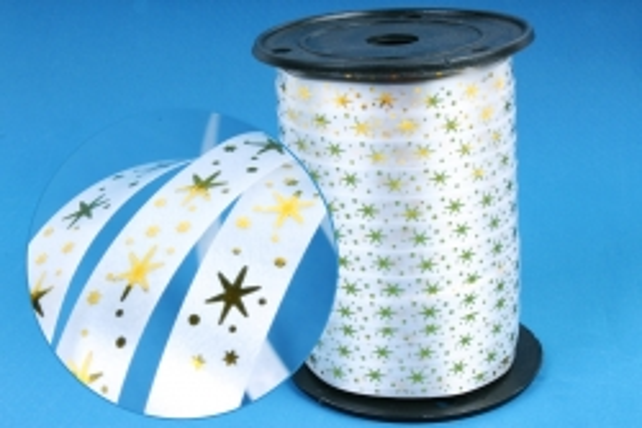 Подарочная Декоративная Лента с золотой полосой (1см на 100у) Звёздочки - Белая A101