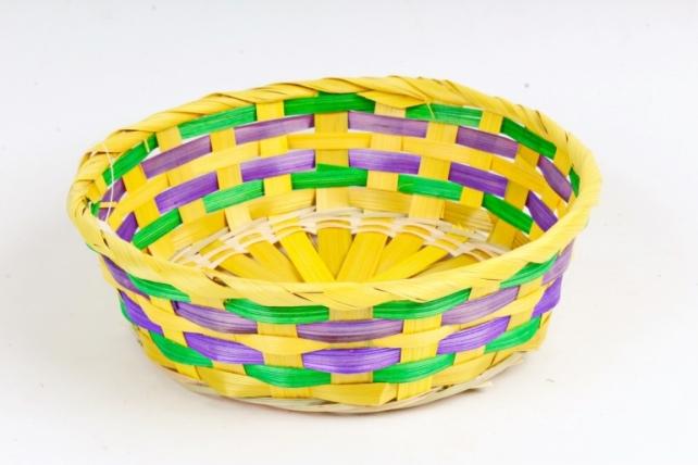 Плошка плетеная (бамбук) - Круг    желтый / зеленый / фиолетовый 1126 М