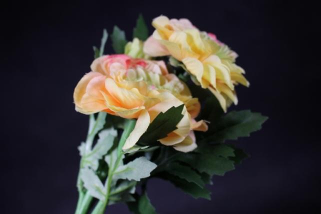 Искусственное растение - Георгина одиночная Оранжево-желтая 33 см SUN531