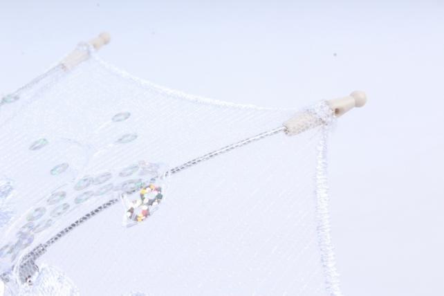 Зонт декоративный гипюр 30см Белый