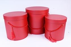 Набор подарочных коробок из 3шт- Цилиндр  красный 3805 (Н)