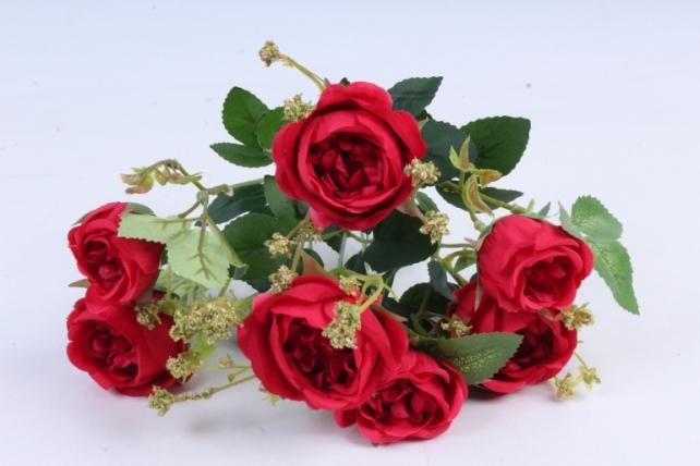 Искусственное растение - Роза пионовидная красная