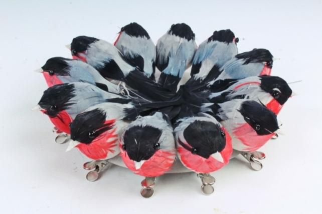 Птички  на прищепке 12 шт в тубе Снегири 163155 S/12