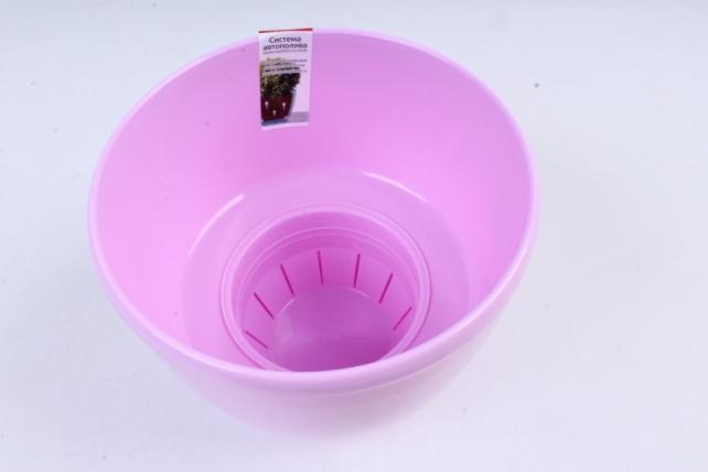 Цветочный (А) горшок Деко Твин (пластик),  1,5л, лавандовый  2226