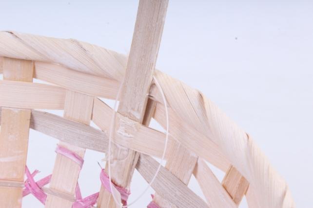 Набор корзин плетеных овал из 3шт  (бамбук)      розовая   5556