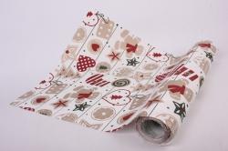 Бумага  рифленая в рулоне Новогодние игрушки на белом  50см*10м 131249 50/10 011842