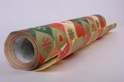 Бумага  рифленая в рулоне Сердца с оленями  50см*10м 131183
