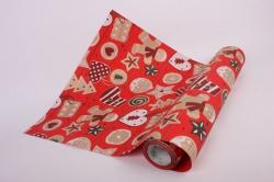 Бумага  рифленая в рулоне Новогодние игрушки на красном  50см*10м 131249 50/10 183542