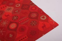 Бумага  рифленая в рулоне Снежинки на красном  50см*10м 131183 50/10 182142
