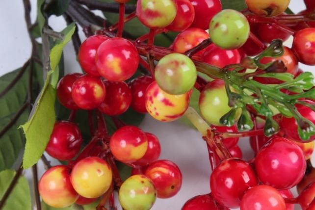Искусственное растение -  Ветка гонконгской вишни салатово-красная  В9798