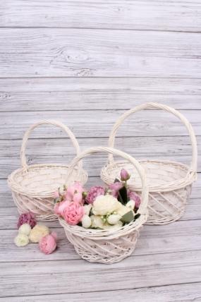 Набор плетеных корзин из 3шт-(ива) Круглая белёная КС-85