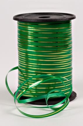 Подарочная Декоративная Лента с золотой полосой - 0.5х250у Зелёная А0542