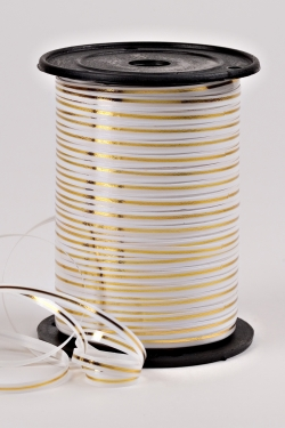 Подарочная Декоративная Лента с золотой полосой - 0.5х250у Белая A0550
