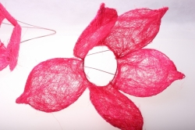 """Аксессуары для флористов - Каркас для букета """"Сизалевый ЦВЕТОК 5 листник"""" - Розовый"""