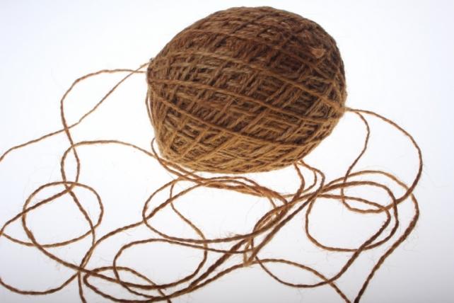 Аксессуары для флористов - Лента текстильная - Шнур натуральный джутовый в ассортименте 100гр - Коричневый