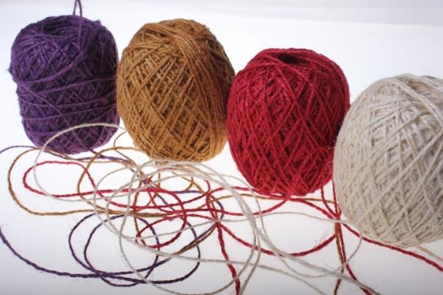 аксессуары для флористов - лента текстильная - шнур натуральный джутовый в ассортименте 100гр аксессуары для флористов - лента текстильная - шнур натуральный джутовый в ассортименте 100гр - малиновый 2223