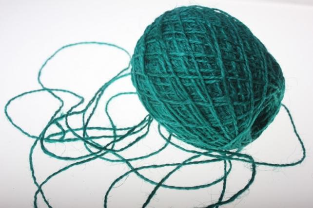 Аксессуары для флористов - Лента текстильная - Шнур натуральный джутовый в ассортименте 100гр - Морская волна
