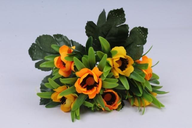 анемоны букет жёлто-орнжевые 35см