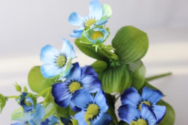анемоны голубые букет - цветы искусственные