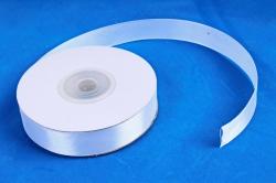 Атласная лента, в катушке (картон) гладкая, односторонняя, 15мм х 25м, Белый  М.К