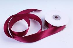 Атласная лента, в катушке (картон) гладкая, односторонняя, 25мм х 25м, Бургундский М, К