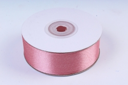 Атласная лента, в катушке (картон) гладкая, односторонняя, 25мм х 25м, Чайная Роза М, К