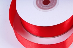 Атласная лента, в катушке (картон) гладкая, односторонняя, 25мм х 25м, Красный М, К
