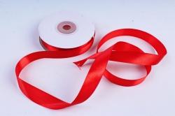 Атласная лента, в катушке (картон) гладкая, односторонняя, 15мм х 25м, Красный  М, К