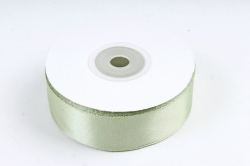 Атласная лента, в катушке (картон) гладкая, односторонняя, 25мм х 25м, оливковый